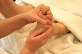 Reflexology . Treatment close-up